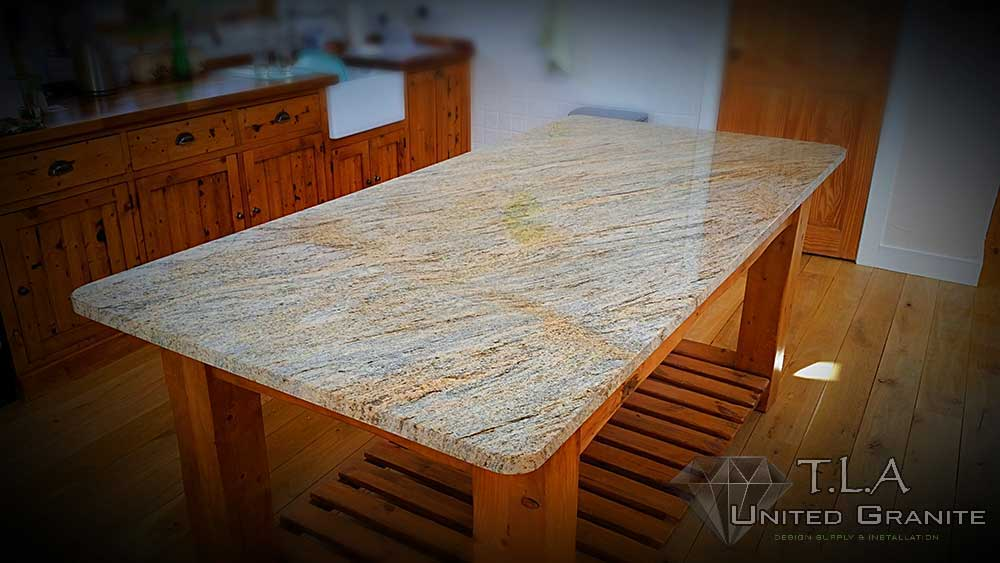 Brown and white granite tabletop