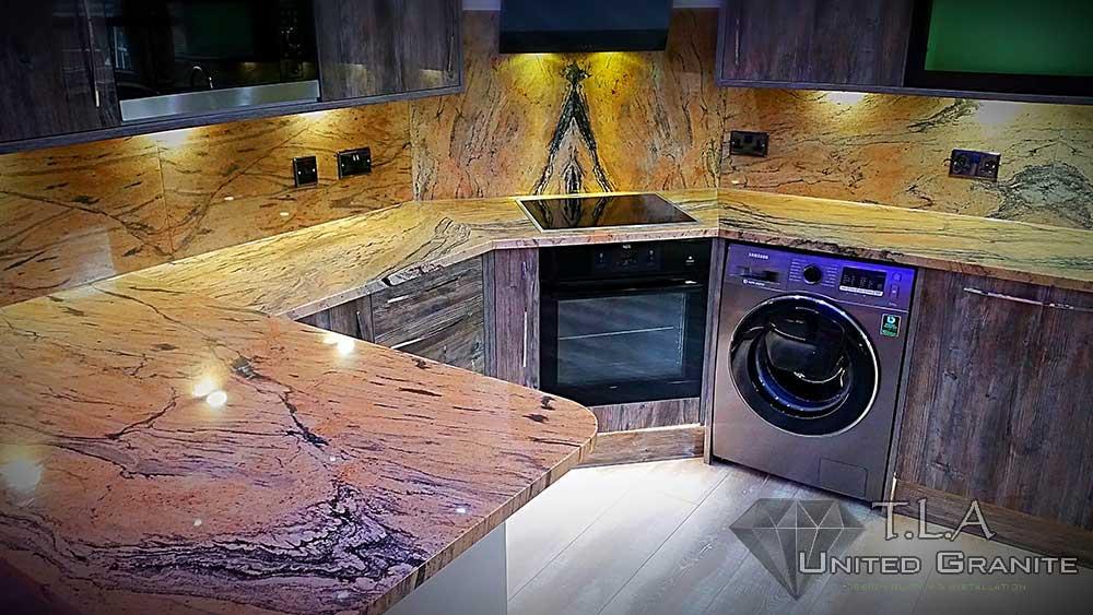 Brown and white granite kitchen