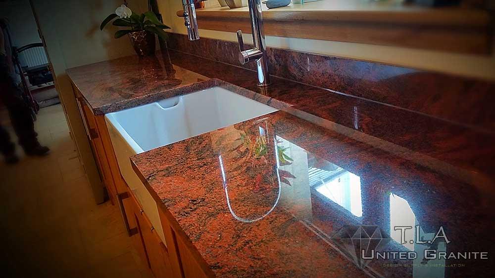 Brown granite kitchen worktops