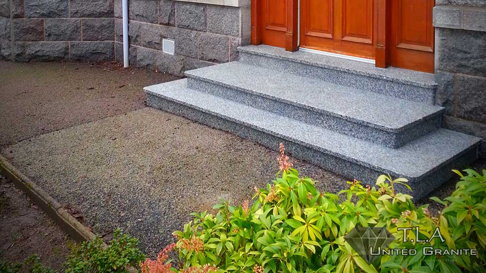 Black and white granite steps